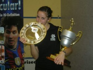 Milnay posing with trophies