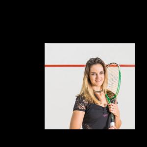 Milnay Louw holding squash racket
