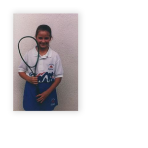 Young Milnay Louw with squash racket