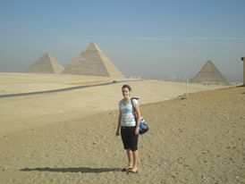 Milnay pictured in front of the pyramids in Egypt