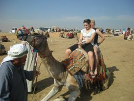 Milnay on a Camel in Egypt