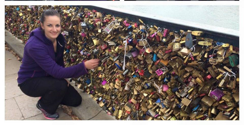 Milnay pictured next on the Pont des Arts bridge in France
